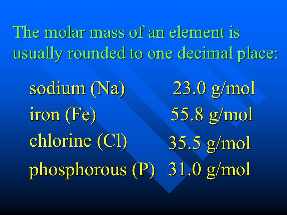 sodium (Na) 23.0 g/mol iron (Fe) 55.8 g/mol chlorine (Cl) 35.5 g/mol