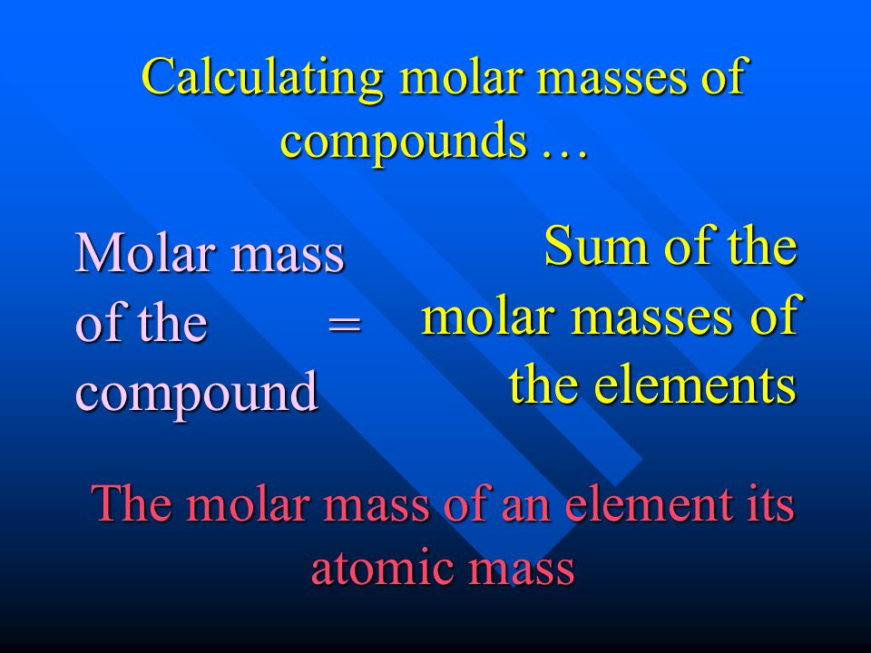 Calculating molar masses of compounds …