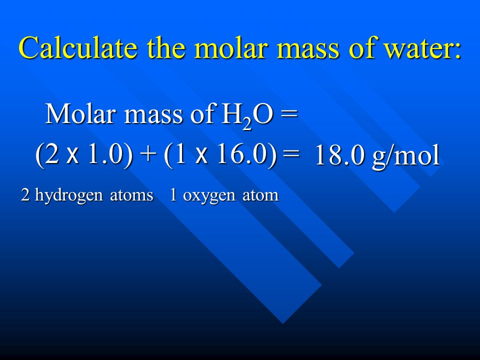 Calculate the molar mass of water: