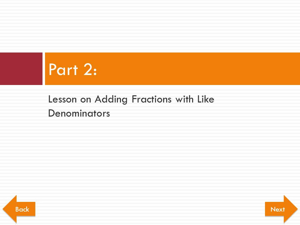 Part 2: Lesson on Adding Fractions with Like Denominators Back Next