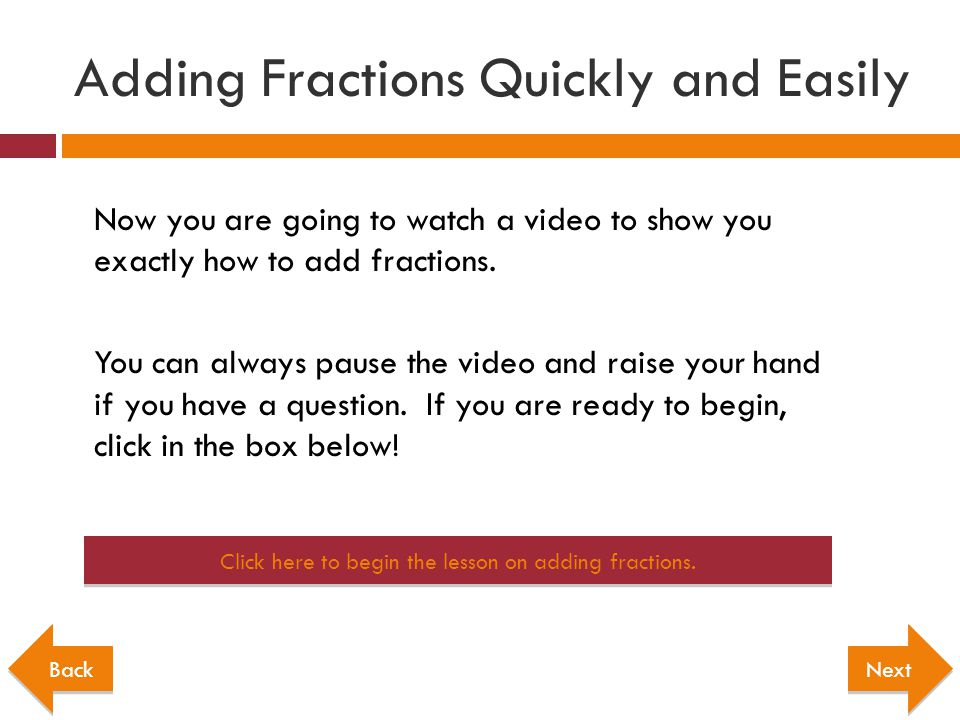 Adding Fractions Quickly and Easily