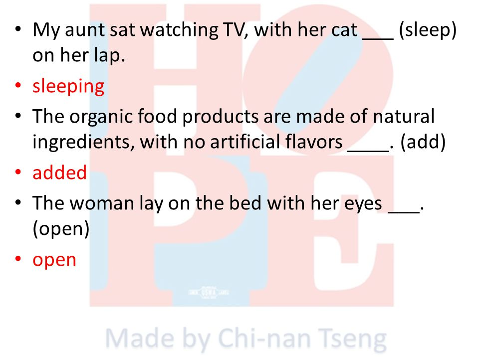 My aunt sat watching TV, with her cat ___ (sleep) on her lap.