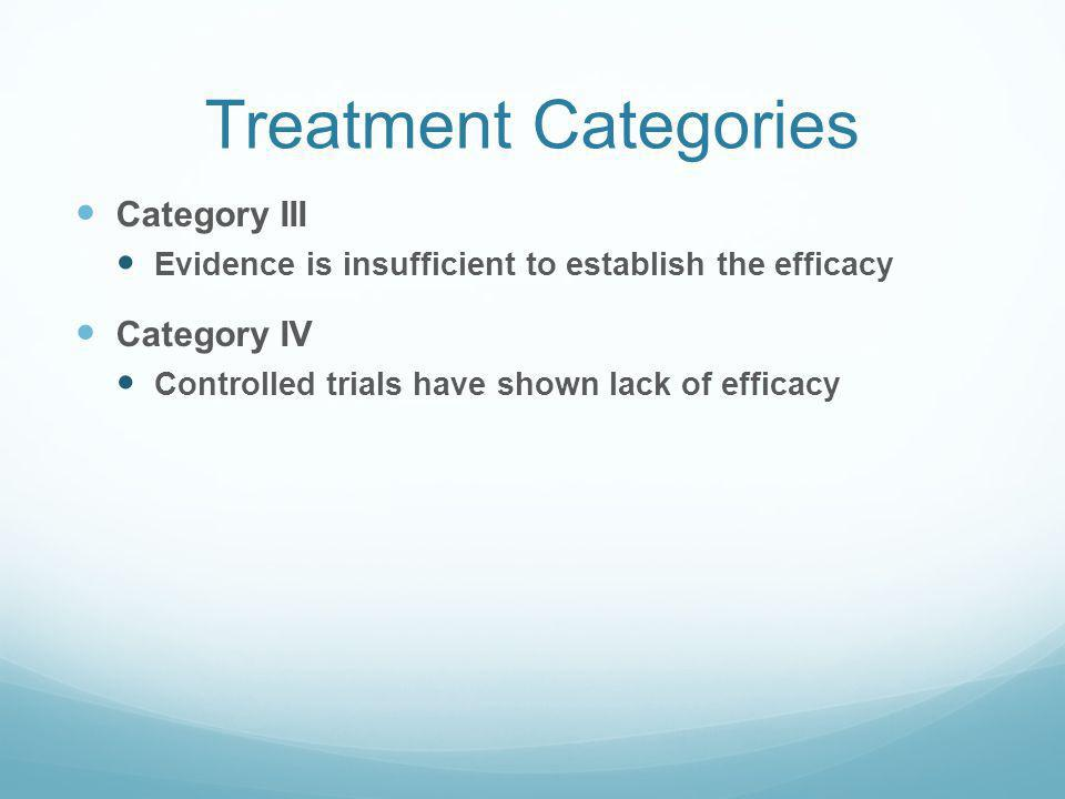 Treatment Categories Category III Category IV