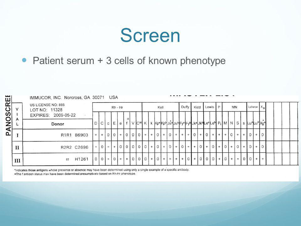 Screen Patient serum + 3 cells of known phenotype