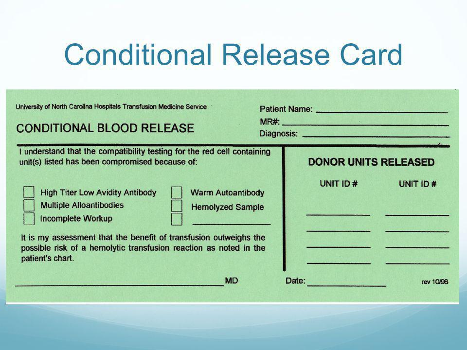 Conditional Release Card