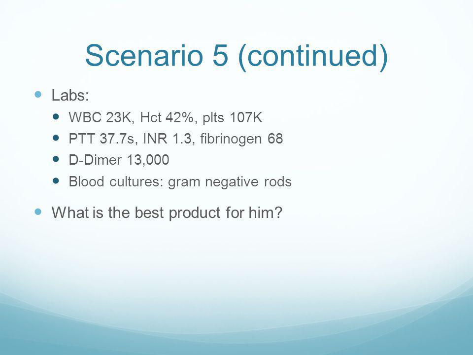 Scenario 5 (continued) Labs: What is the best product for him
