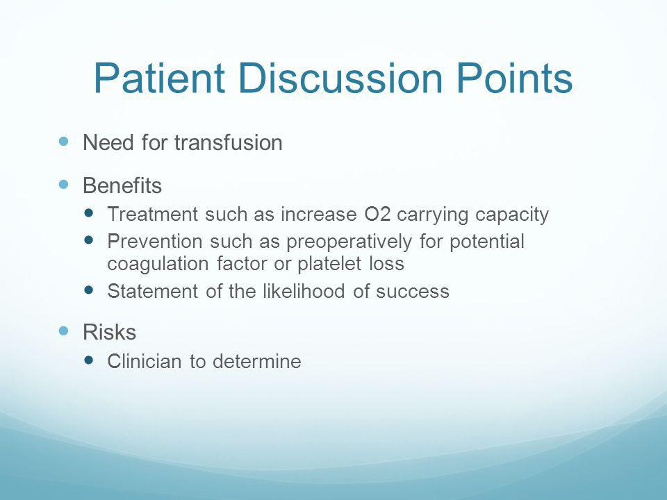 Patient Discussion Points
