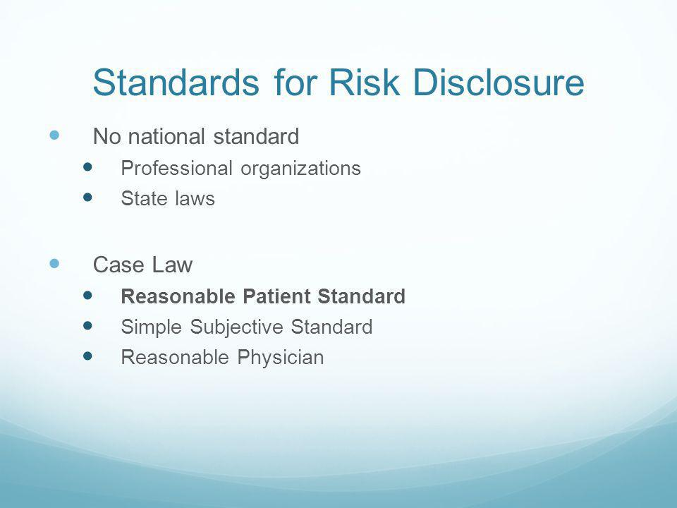 Standards for Risk Disclosure