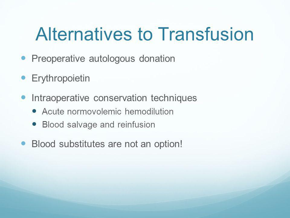Alternatives to Transfusion