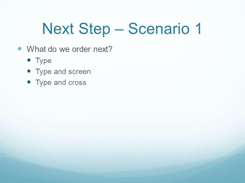 Next Step – Scenario 1 What do we order next Type Type and screen