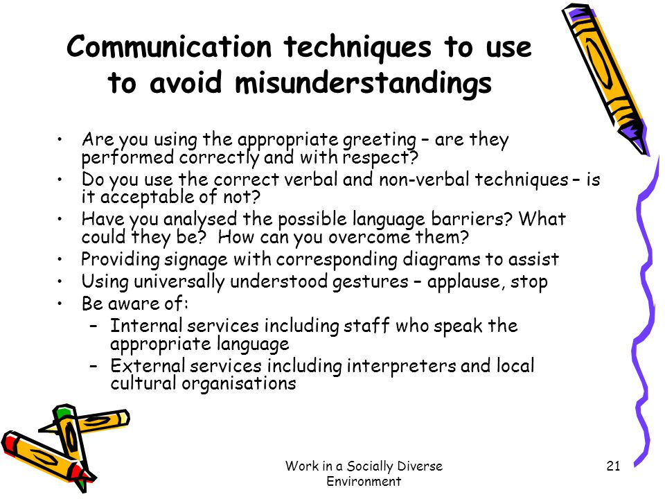 Communication techniques to use to avoid misunderstandings