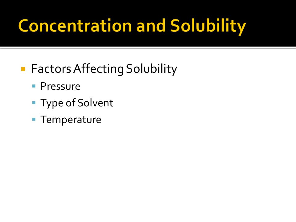 Concentration and Solubility