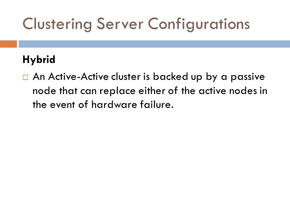 Clustering Server Configurations