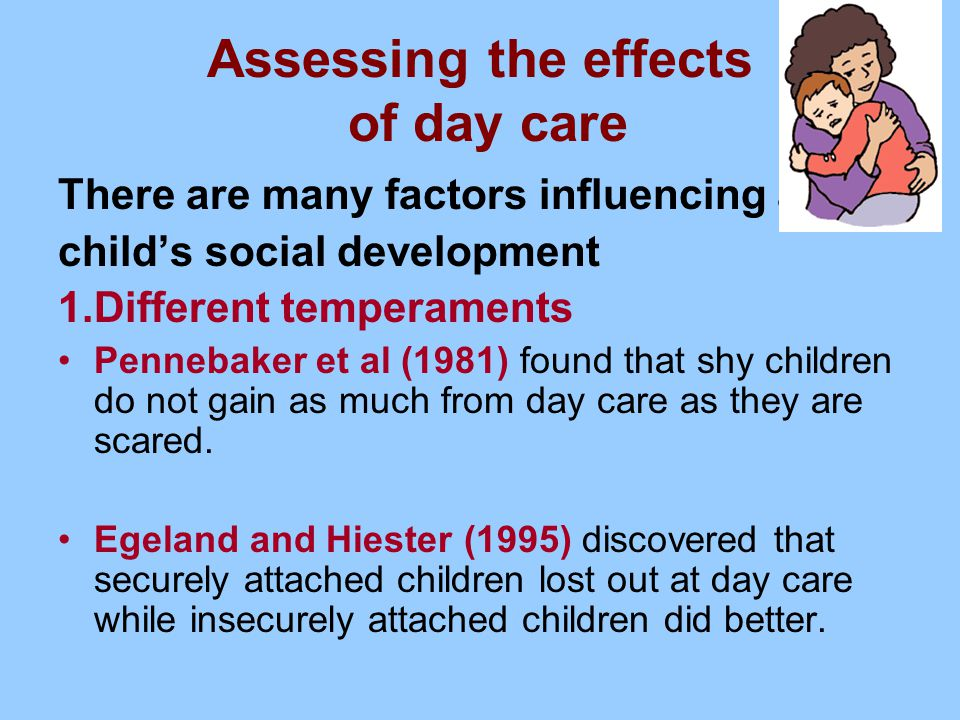 the effects of day care paper This may in part explain the explosive public reaction to reports of a review paper, the 'effects' of infant day care reconsidered  bad care is never good for any child and good day care is .