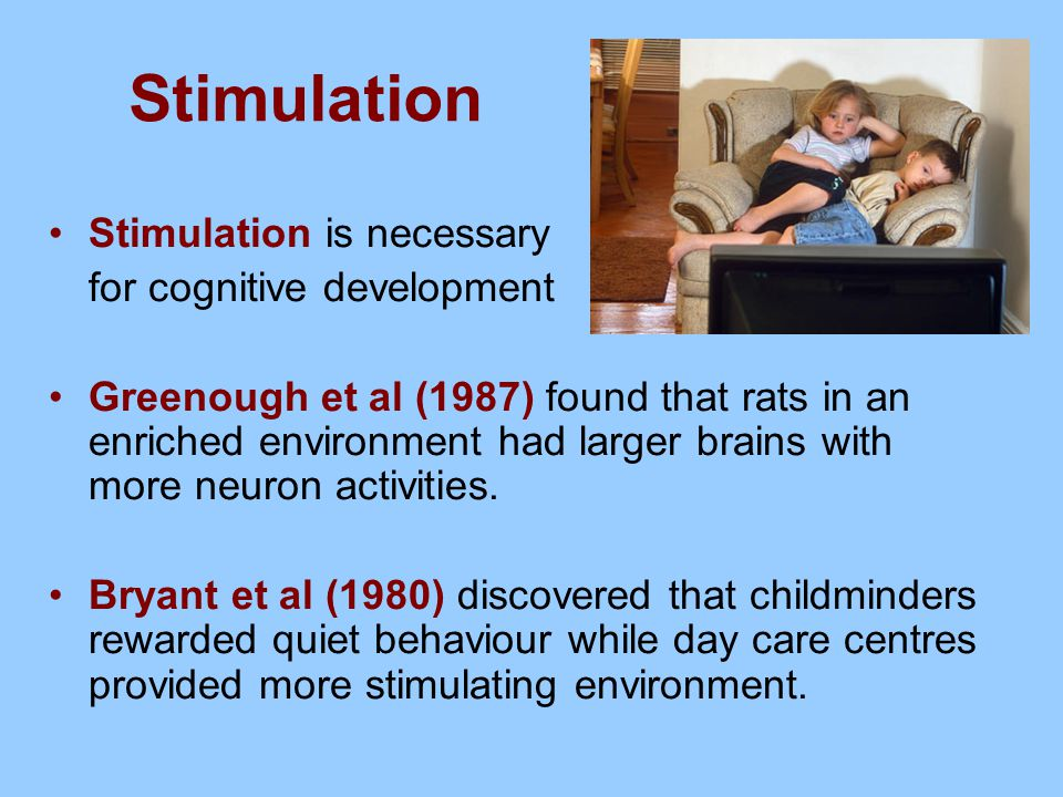 Stimulation Stimulation is necessary for cognitive development