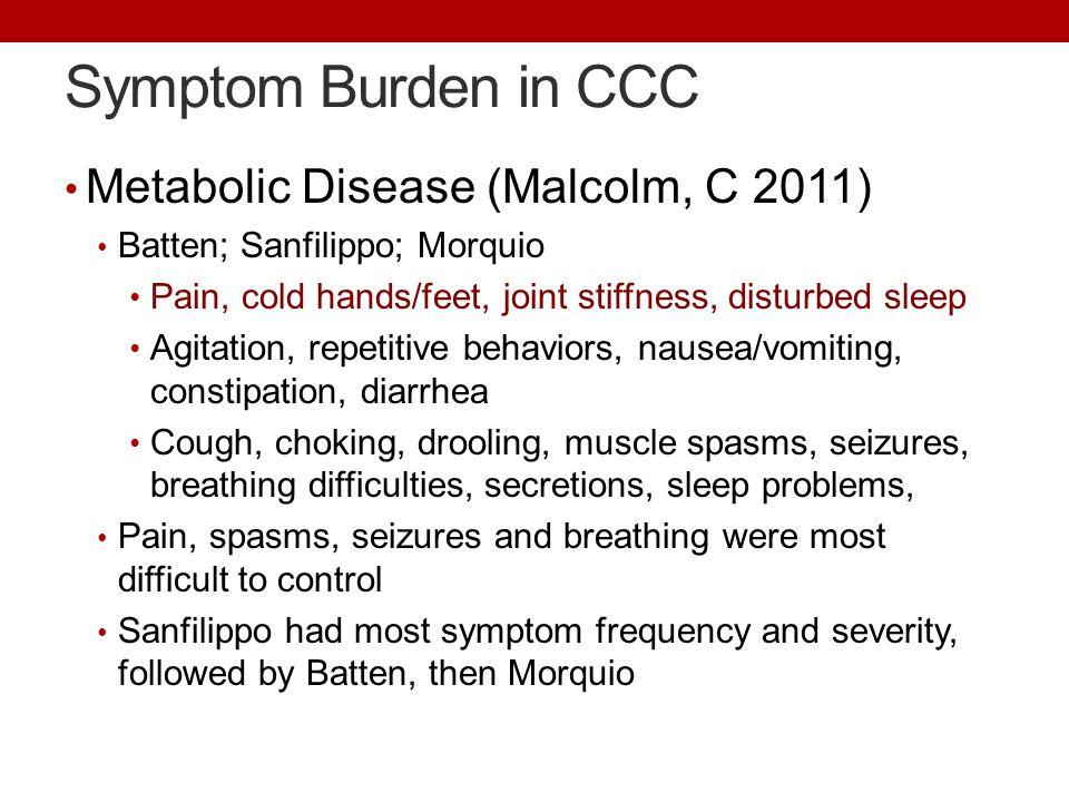 Symptom Burden in CCC Metabolic Disease (Malcolm, C 2011)