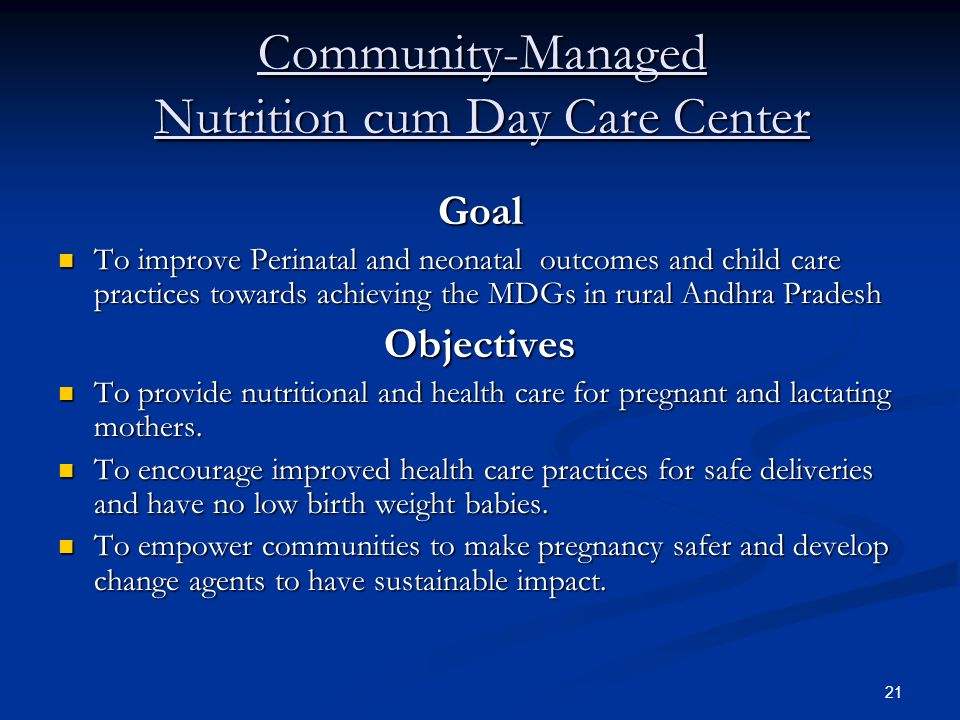 Community-Managed Nutrition cum Day Care Center