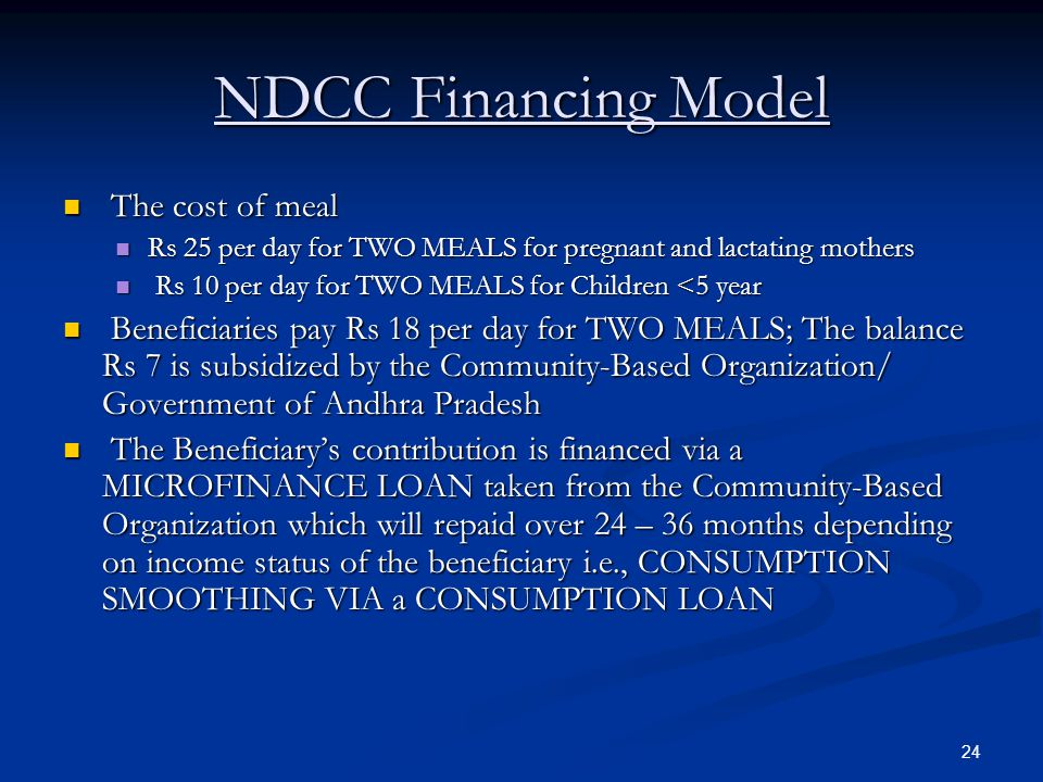 NDCC Financing Model The cost of meal