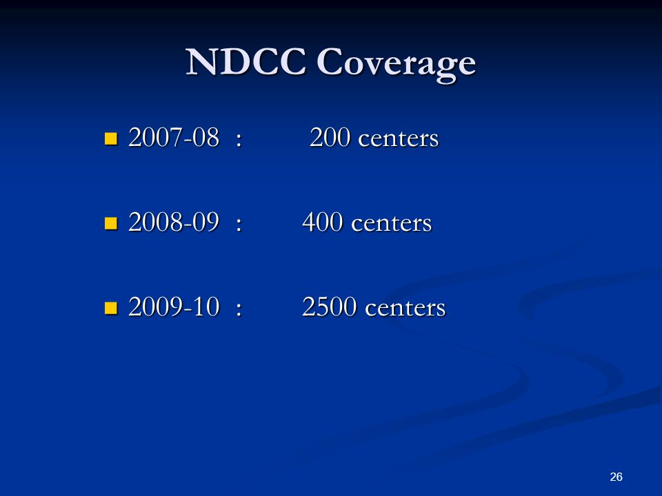 NDCC Coverage 2007-08 : 200 centers 2008-09 : 400 centers
