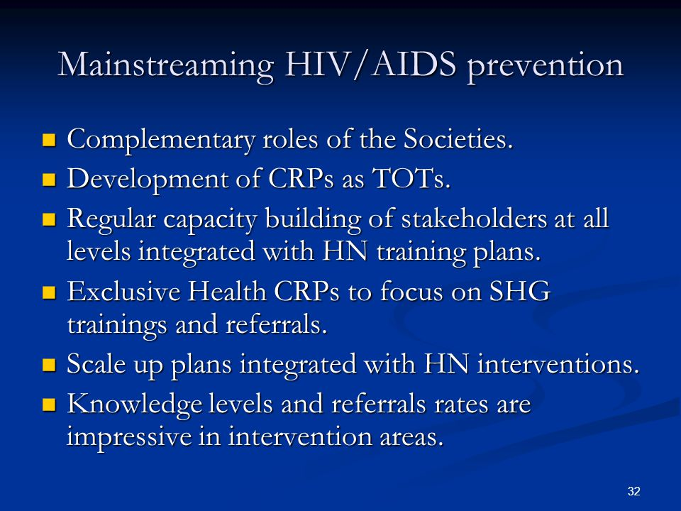 Mainstreaming HIV/AIDS prevention
