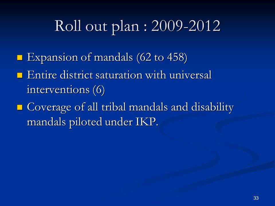 Roll out plan : 2009-2012 Expansion of mandals (62 to 458)