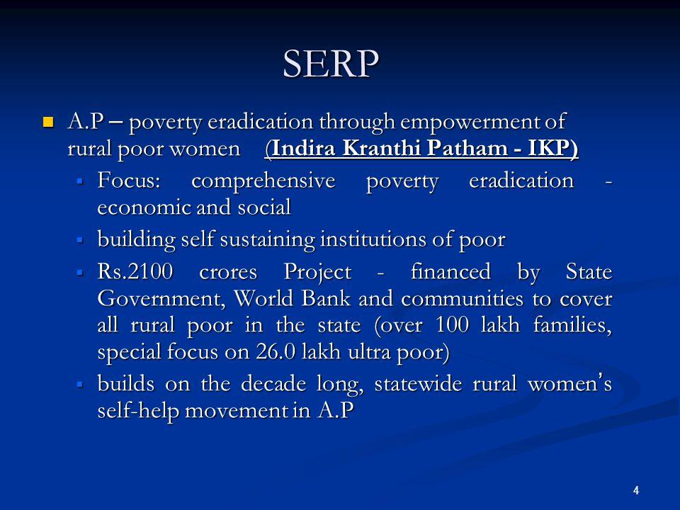 SERP A.P – poverty eradication through empowerment of rural poor women (Indira Kranthi Patham - IKP)