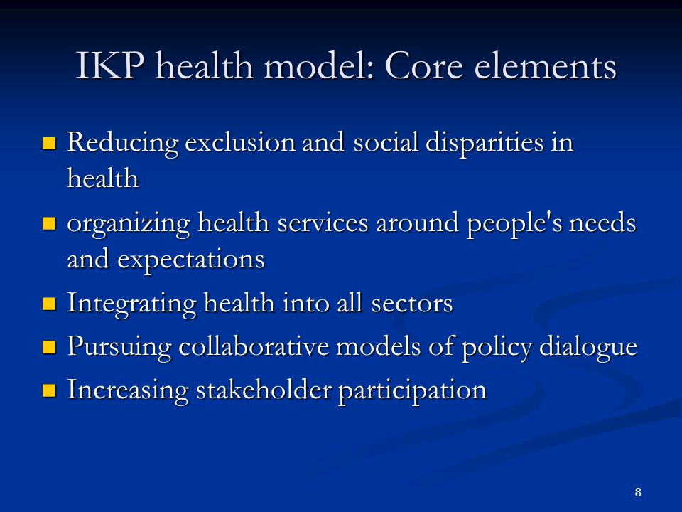 IKP health model: Core elements