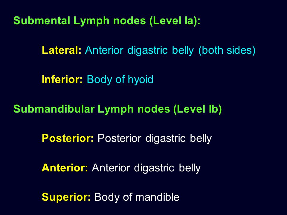 Submental Lymph nodes (Level Ia):