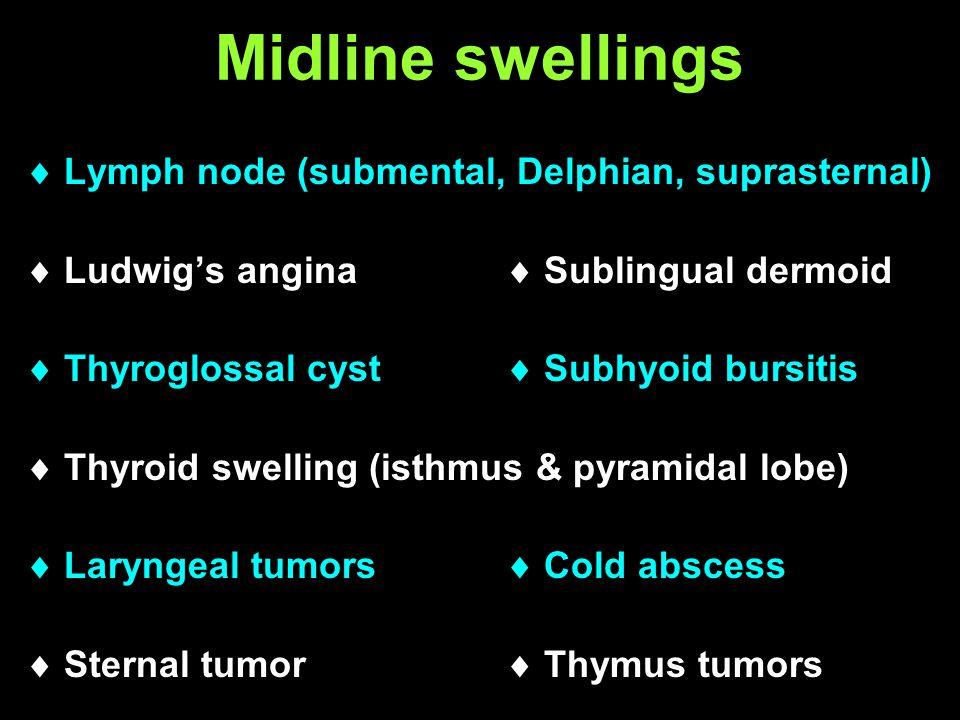 Midline swellings  Lymph node (submental, Delphian, suprasternal)