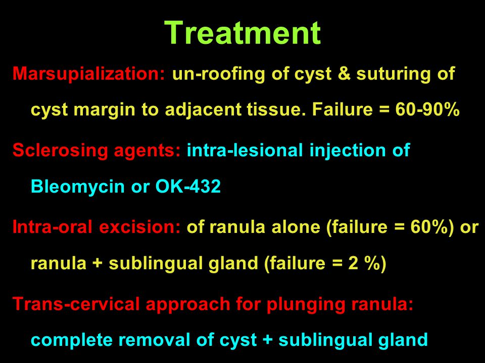 Treatment Marsupialization: un-roofing of cyst & suturing of cyst margin to adjacent tissue. Failure = 60-90%
