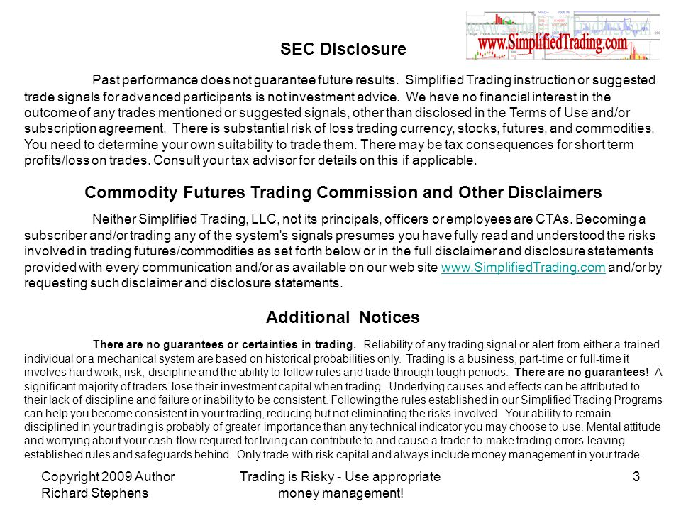Commodity Futures Trading Commission and Other Disclaimers