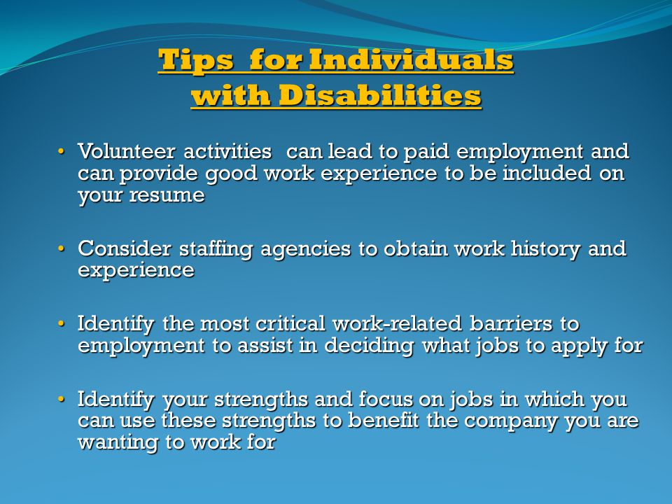 Tips for Individuals with Disabilities