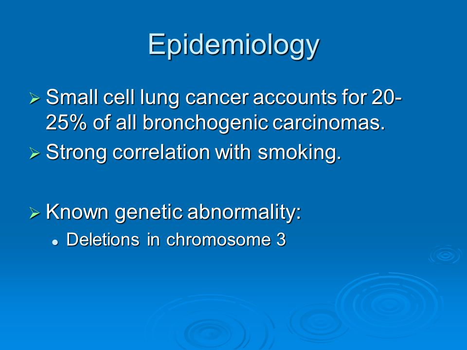 Epidemiology Small cell lung cancer accounts for 20-25% of all bronchogenic carcinomas. Strong correlation with smoking.