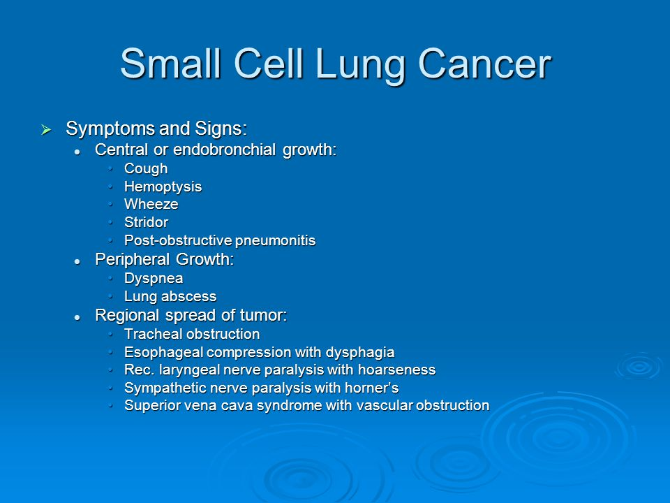 Small Cell Lung Cancer Symptoms and Signs: