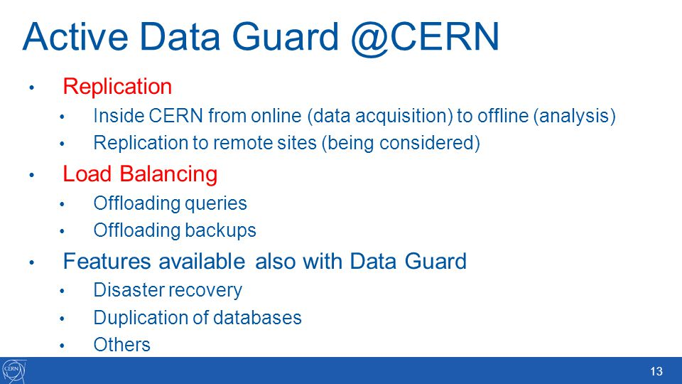 Active Data Guard @CERN
