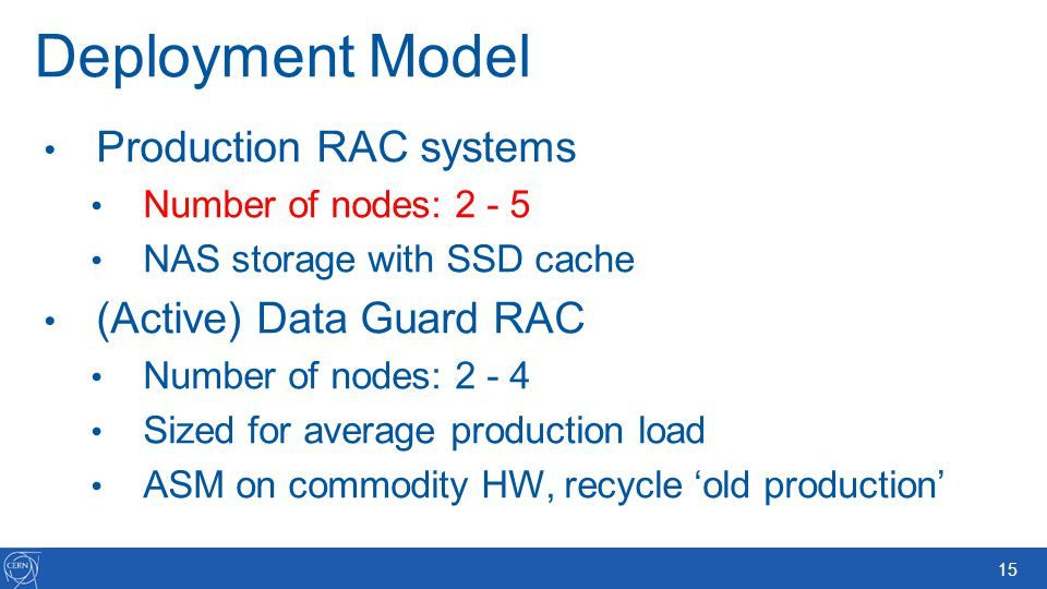 Deployment Model Production RAC systems (Active) Data Guard RAC