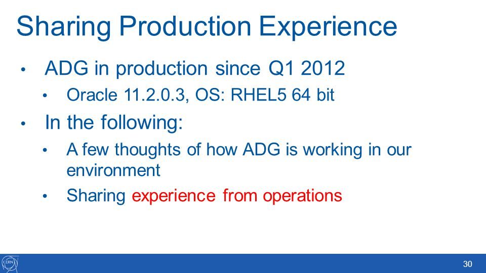 Sharing Production Experience