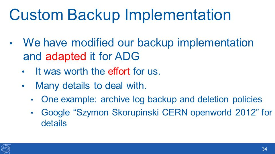 Custom Backup Implementation