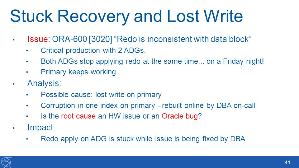 Stuck Recovery and Lost Write
