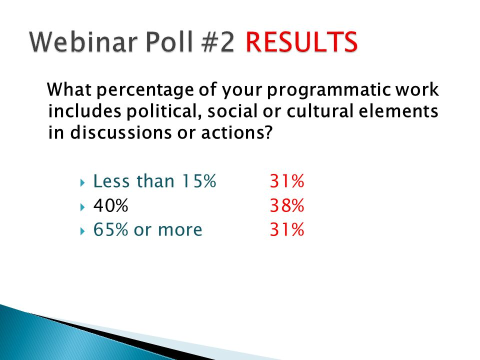 Webinar Poll #2 RESULTS What percentage of your programmatic work includes political, social or cultural elements in discussions or actions