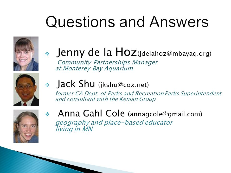 Questions and Answers Anna Gahl Cole (annagcole@gmail.com)
