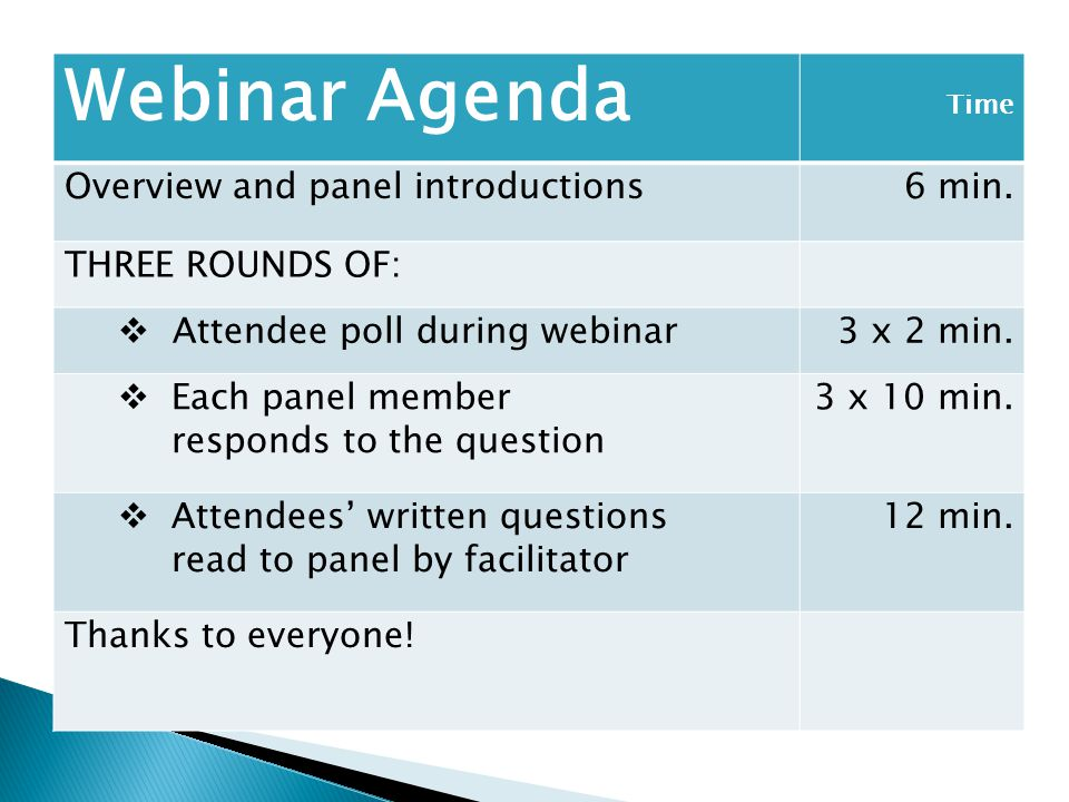 Webinar Agenda Overview and panel introductions 6 min.