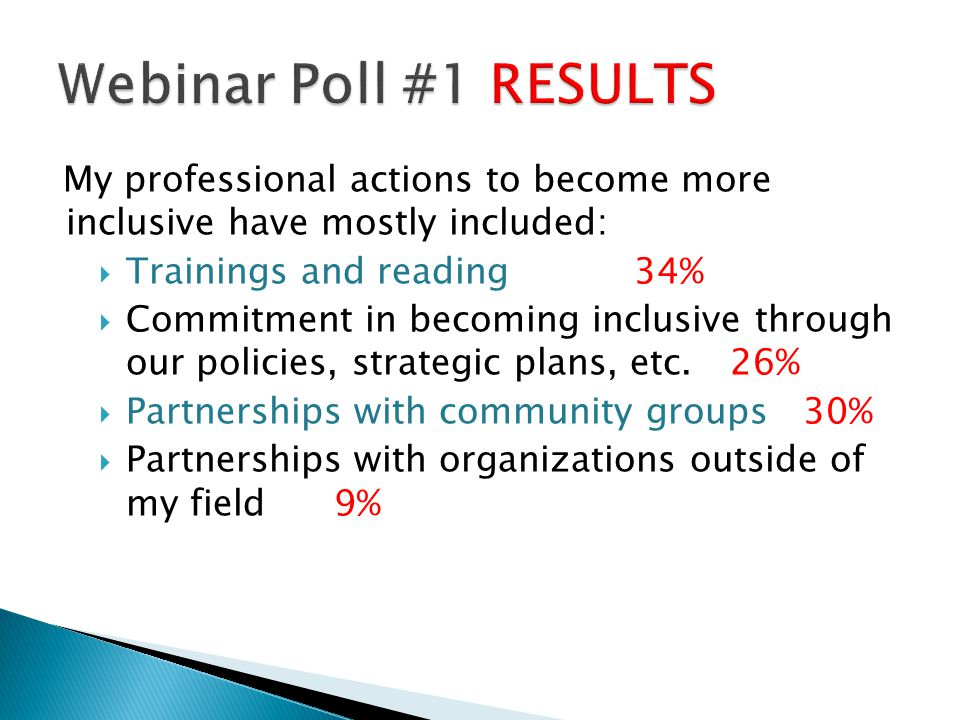 Webinar Poll #1 RESULTS My professional actions to become more inclusive have mostly included: Trainings and reading 34%