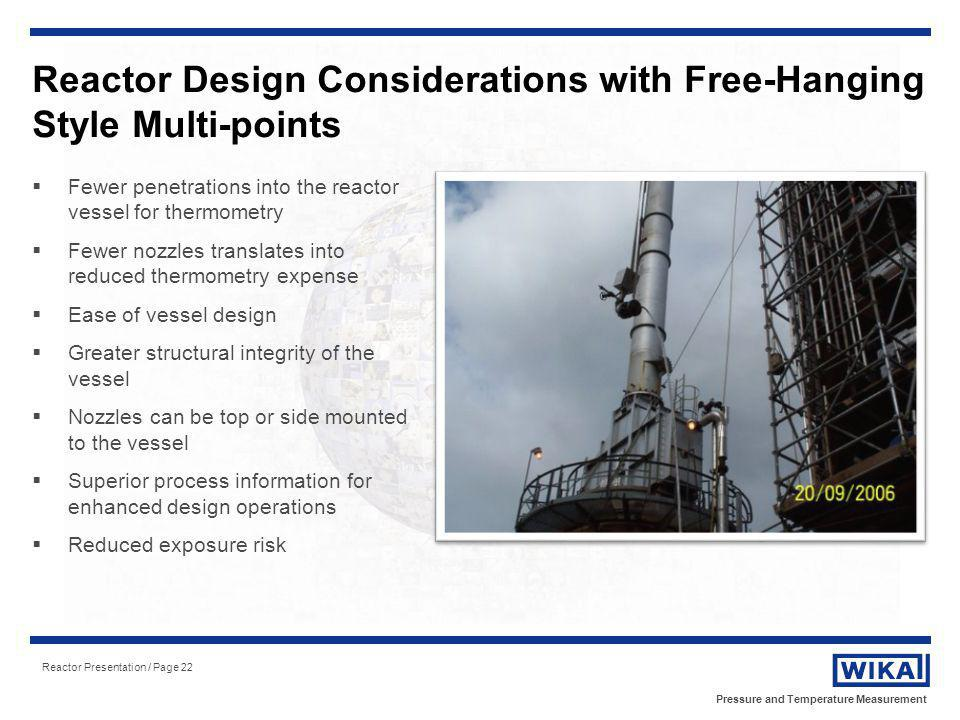 Reactor Design Considerations with Free-Hanging Style Multi-points