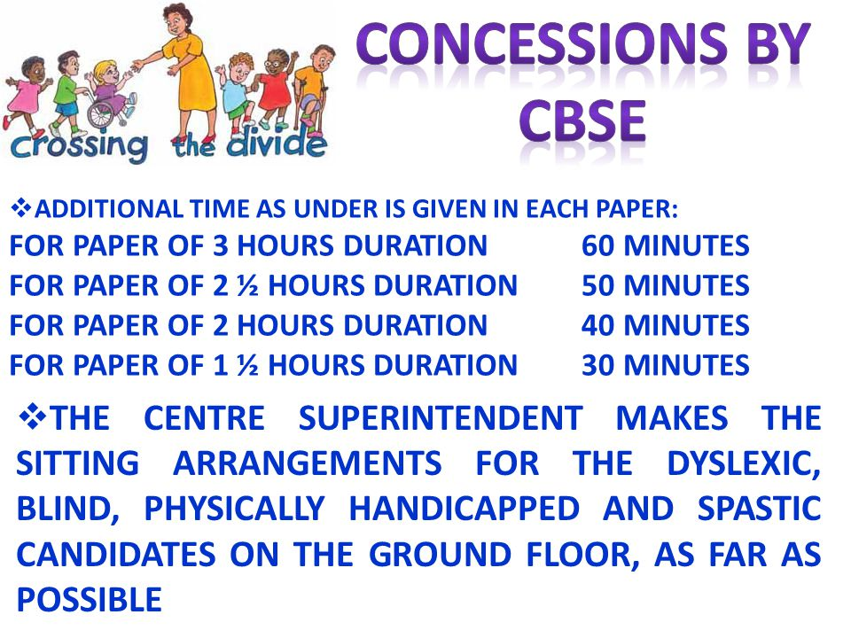 CONCESSIONS BY CBSE. ADDITIONAL TIME AS UNDER IS GIVEN IN EACH PAPER: FOR PAPER OF 3 HOURS DURATION 60 MINUTES.