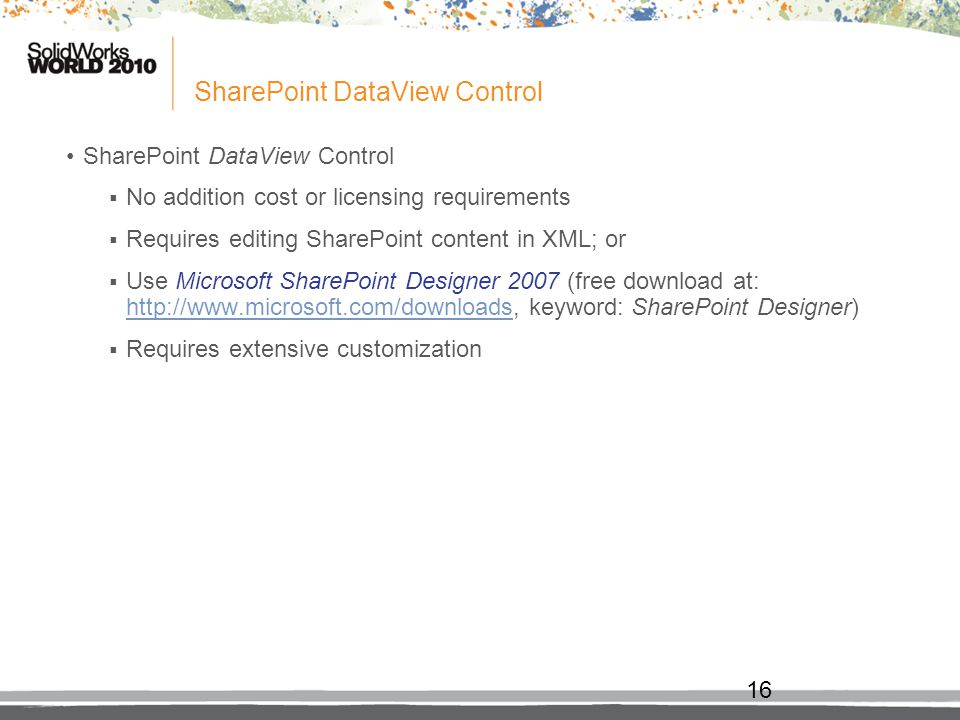 SharePoint DataView Control