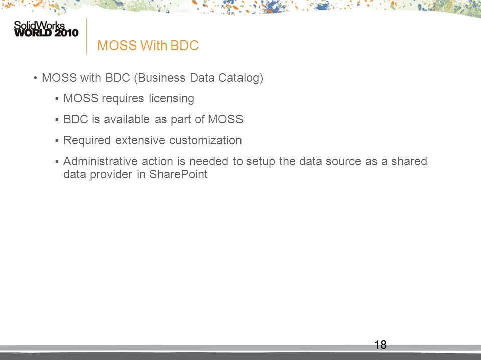 MOSS With BDC MOSS with BDC (Business Data Catalog)