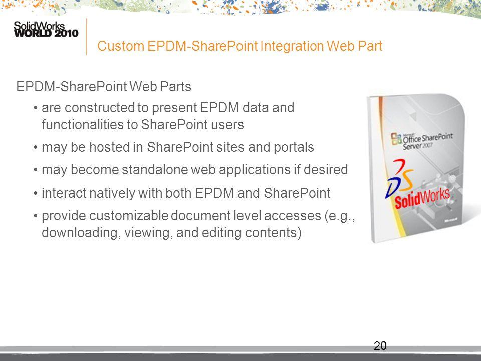 Custom EPDM-SharePoint Integration Web Part