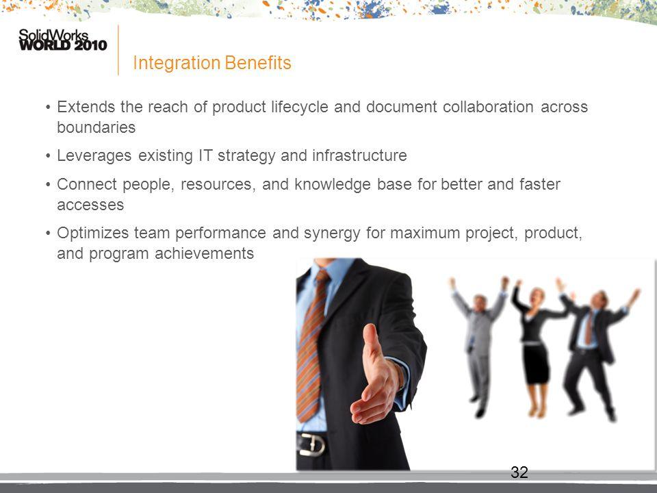 Integration Benefits Extends the reach of product lifecycle and document collaboration across boundaries.