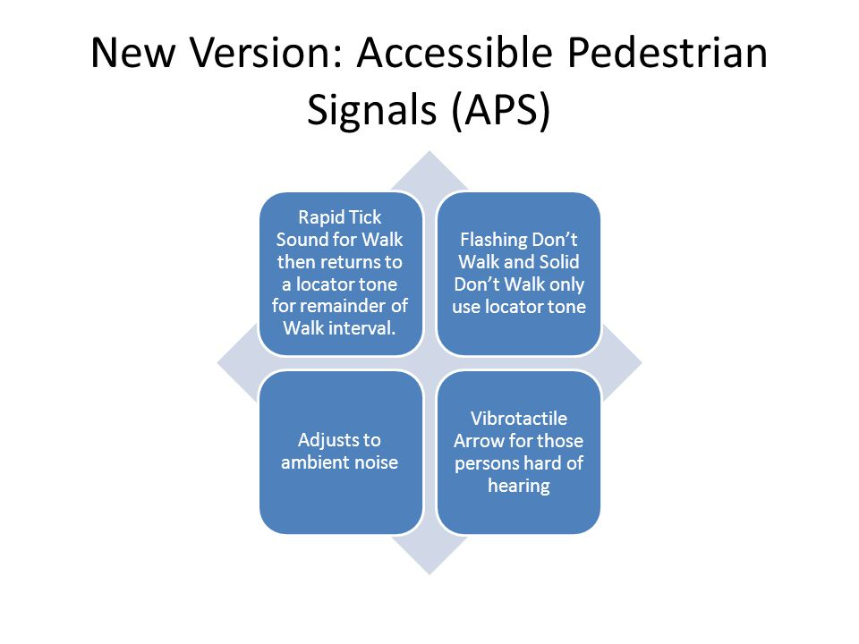 New Version: Accessible Pedestrian Signals (APS)